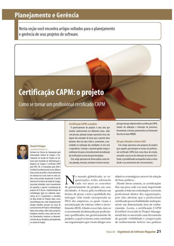 Certificação CAPM - O Projeto